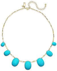 Kate Spade | Blue Gold-tone Turquoise-colored Pavé Frontal Necklace | Lyst