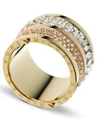 Michael Kors Metallic Gold-Tone Pave And Stone Barrel Ring