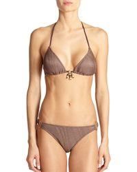 Elizabeth Hurley Beach Brown Heidi Triangle Bikini Top