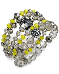 INC International Concepts - Yellow Rhodium-tone Beaded Stretch Bracelet Set - Lyst