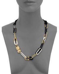 Marc By Marc Jacobs Black Padlock & Key Bubble Link Necklace