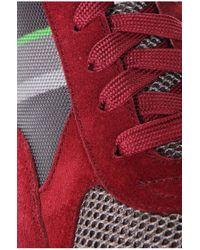 BOSS Green - Red 'runcool Ii' | Leather Mesh Sneakers for Men - Lyst