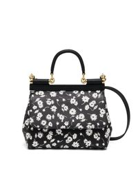 Dolce & Gabbana | Black Small Floral 'sicily' Tote | Lyst