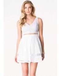 Bebe - White Alyssa Eyelet Dress - Lyst