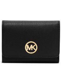 Michael Kors | Black Michael Fulton Medium Trifold Wallet | Lyst