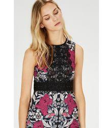 Warehouse Pink Floral Print Lace Panel Shift Dress