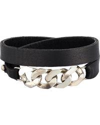 Loren Stewart - Black Chain & Leather Wrap Bracelet for Men - Lyst