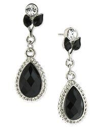 2028 | Metallic Silver-tone Jet Glass Leaf Teardrop Earrings | Lyst