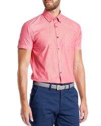 Ted Baker | Red Knightd Striped Fil Coupe Slim Fit Button Down Shirt for Men | Lyst