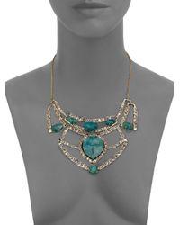 Alexis Bittar   Blue Miss Havisham Mosaic Chrysocolla & Crystal Articulated Geometric Bib Necklace   Lyst