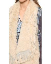 Jocelyn - Natural Asymmetrical Fringe Fur Vest - Lyst