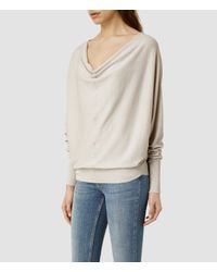 AllSaints | White Elgar Cowl Neck Sweater Usa Usa | Lyst