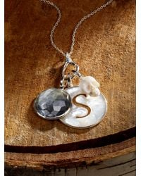 "Ippolita | Metallic Black Shell, Clear Quartz & Sterling Silver Carved ""peace"" Doublet Charm 