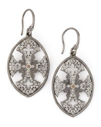 Armenta Metallic New World Diamond Maltese Cross Shield Earrings