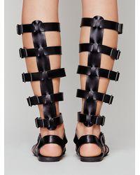 b1e6153937f Lyst - Free People Repulik Vegan Leather Sandal in Black
