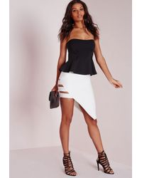 Missguided - Black Bandeau Peplum Crop Top - Lyst