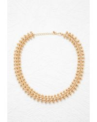 Forever 21 - Metallic Chevron Chain Statement Necklace - Lyst
