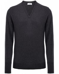 Jules B - Gray Cashmere V-neck Sweater for Men - Lyst