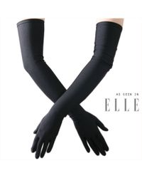 Black.co.uk Long Black Satin Gloves for men