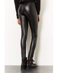 TOPSHOP Black Textured Leather Look Leggings