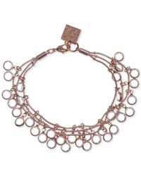 Anne Klein | Pink Rose Gold-tone Shaky Crystal Three-row Bracelet | Lyst