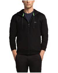 BOSS Green Black Hooded Sweatshirt Jacket 'saggy 1' In Cotton Blend for men