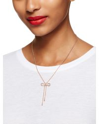 kate spade new york - Pink Dainty Sparklers Bow Y Necklace - Lyst
