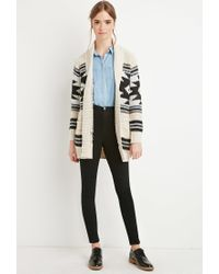 Forever 21 - Black Geo-patterned Open-front Cardigan - Lyst