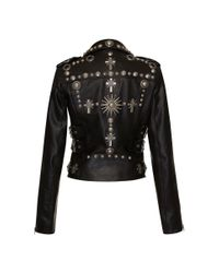 Fausto Puglisi - Black Leather Biker Jacket - Lyst