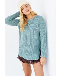 Silence + Noise - Blue Zip Back Shirttail Hem Sweater - Lyst