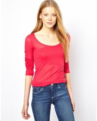 American Vintage | Pink Round Neck T-shirt with Long Sleeves | Lyst
