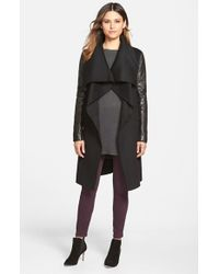 Mackage | Black Wool Blend Coat With Leather Sleeves | Lyst