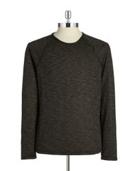 John Varvatos - Green Space-dyed Long Sleeve Pullover for Men - Lyst