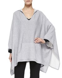 Vince Gray Double-Face-Knit Hooded Poncho