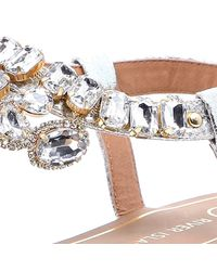 River Island Metallic Silver Gemstone Embellished Sandals