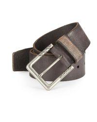 John Varvatos | Brown Stitch-trimmed Buckle Leather Belt for Men | Lyst