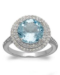 Lord & Taylor | 14Kt. White Gold Sky Blue Topaz And White Topaz Ring | Lyst