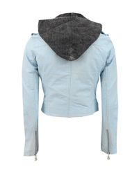 Doma Leather Blue Crop Leather Jacket With Hood