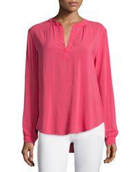 Velvet - Pink Rosie Long-sleeve Split-neck Blouse - Lyst
