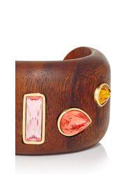 Oscar de la Renta - Orange Crystal & Wood Bracelet - Lyst