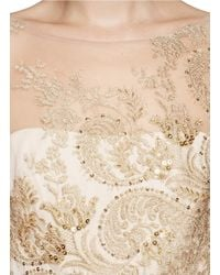 Notte by Marchesa - Natural Metallic Embroidery Tulle Gown - Lyst