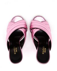 Gucci | Pink Padded Metallic Leather Mules | Lyst