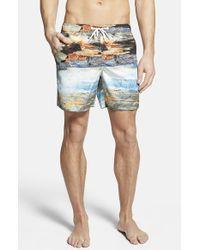 Rainforest - Blue 'watercave' Print Swim Trunks for Men - Lyst