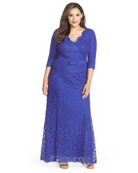 Tadashi Shoji | Blue V-Neck Lace Gown | Lyst