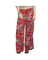 Denim & Supply Ralph Lauren - Red Floral Smocked Wide-Leg Pant - Lyst
