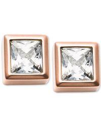 Michael Kors | Metallic Gold-tone Cubic Zirconia Stud Earrings | Lyst