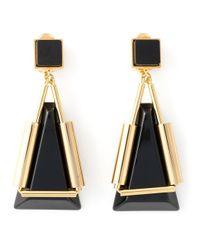 Marni Black Triangle Pendant Earrings