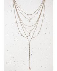 Forever 21 | Metallic Faux Stone Front And Back Necklace | Lyst