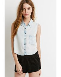 Forever 21 | Blue Denim Pocket Shirt You've Been Added To The Waitlist | Lyst