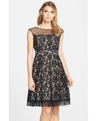 Eliza J Black Illusion Yoke Lace Fit & Flare Dress